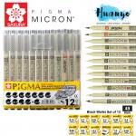 Sakura Pigma Micron Technical Drawing Pen Black (Wallet Set of 12, XSDK-12A) - [003, 005, 01, 02, 03, 04, 05, 08, PN, Graphic 1 & Brush pen + 01]