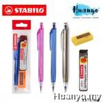 Stabilo Tri Grip Mechanical Pencil 3557 & Hi Polymer Pencil Lead Refill Promo Value Set (0.5 / 0.7MM) [Free Eraser]