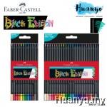 Faber-Castell Black Edition Tri Grip Super Soft Lead Colour Pencil (Color Set of 12 / 24, Colouring on Black & White Paper)