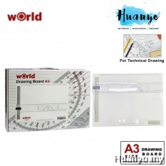 World Technical Drawing Board Set With Detachable Ruler (A3, White Colour)