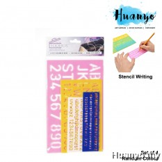 Alphabet Number Letter Combo Writing Stencil Ruler Set of 4 (Random Colour)