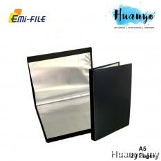 EMI PP Cover A5 Clear Book Holder File 20's (Black Colour, Potrait Layout) [Artwork / Photo / Art Diary Album]