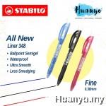 Stabilo Semi Gel Retractable Ball Pen Liner 348 (Fine 0.4MM, Black / Blue / Red, Per Pcs)