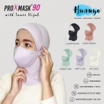 Muslimah Inner Hijab + ProXmask 90 5 Layer Anti Bacterial Reusable Washable Fabric 3D Face Mask Antimicrobial / Pelitup Muka + Anak Tudung  (BFE | Water Repellent | Up to 60 Hand Washes | Breathable | Skin Friendly | Pastel Colour)