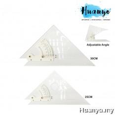 Clear Acrylic Plastic Adjustable Set Square Triangle Ruler (25CM / 30CM)