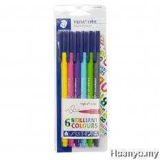 Staedtler Triplus Colour Fiber Tip Pens SBK6-2 (Colours of 6)