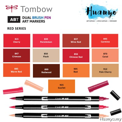 Tombow ABT Dual Tips Drawing & Calligraphy Brush Pen - Red Shades (13 Colours, Per PCS)