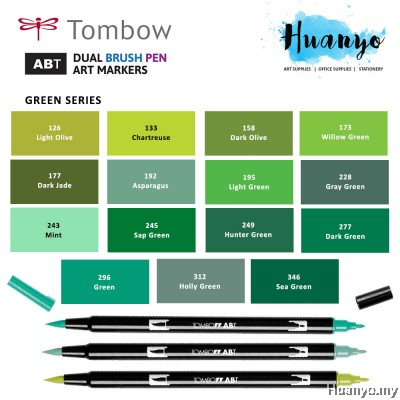 Tombow ABT Dual Tips Drawing & Calligraphy Brush Pen - Green Shades (15 Colours, Per Pcs)