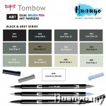 Tombow Dual Brush Pen Black Gray Shades (13 Colours)
