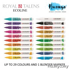 Royal Talens Ecoline Liquid Watercolour Brush Pen (Set of 30 Colours)