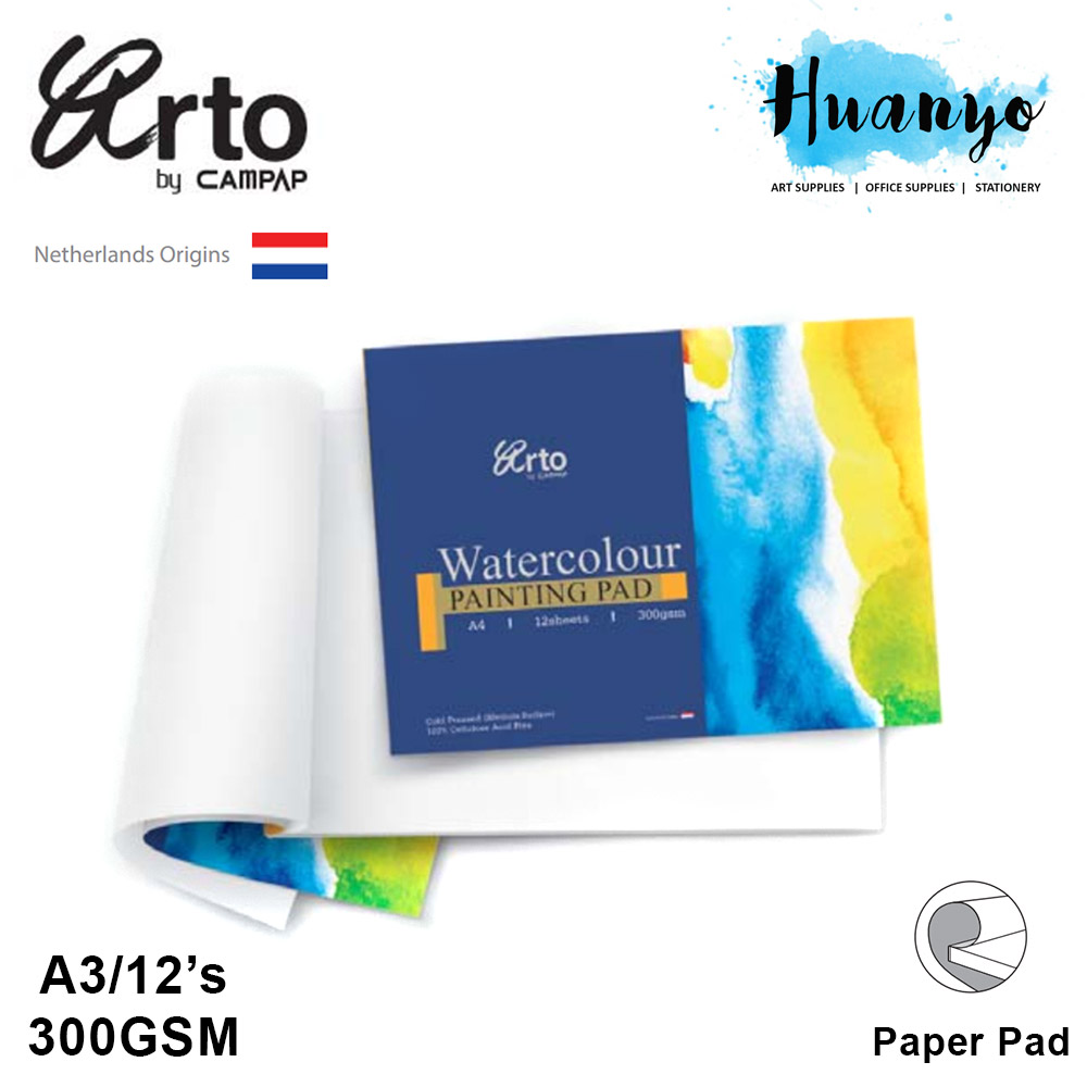 Campap Arto Watercolour Painting Pad A3 - 300gsm (Cellulose, Medium Surface)