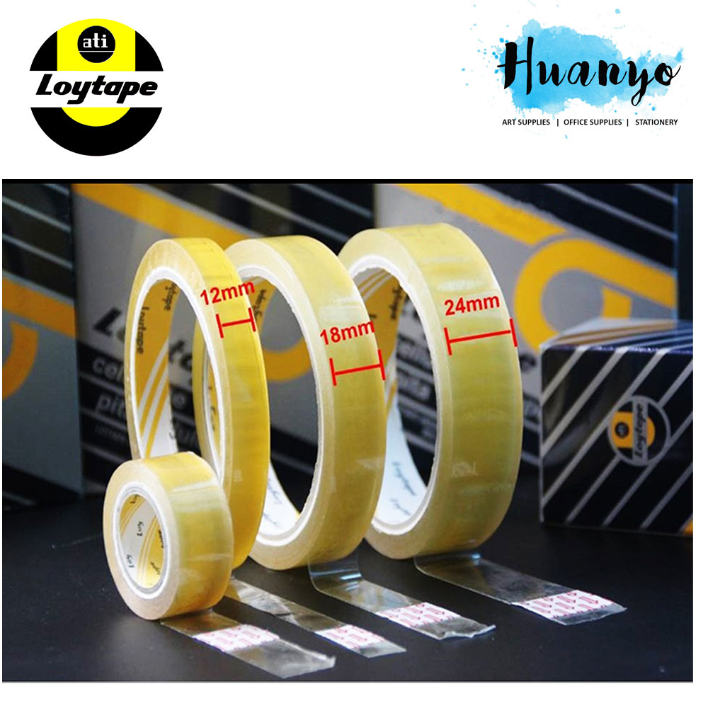"Loytape Cellulose Sello Tape 3"" core 40 meter length ( 12mm / 18mm / 24mm) [Per pcs]"
