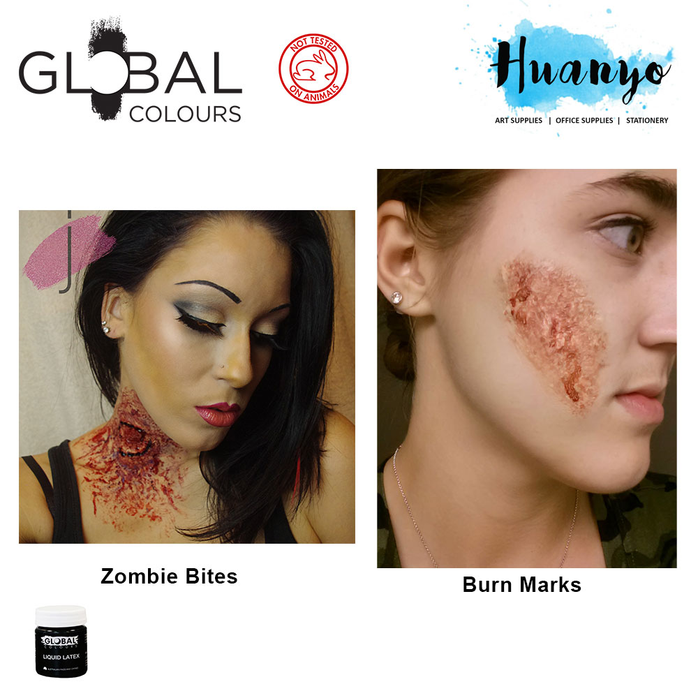 Global Colours Liquid Latex 45ML (For FX / Halloween makeup, Fake Skin and Scars)
