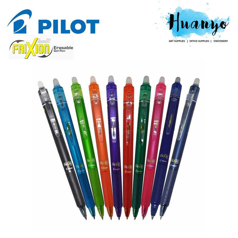 Pilot Frixion Ball Knock Retractable Erasable Ink Gel Pen (Set of 10, 0.5 / 0.7 MM)