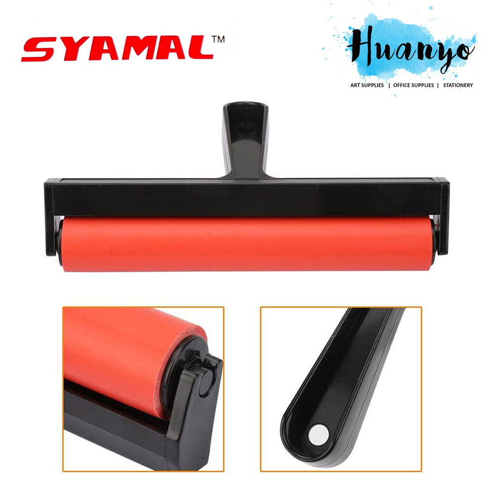 Syamal Rubber Art Roller Stamping Tool for Crafts Lino Printmaking (20cm)