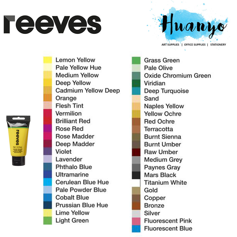 Reeves Fine Artist Quality Series Acrylic Colour Paint (75ML) [Per Tube, List 1/2]