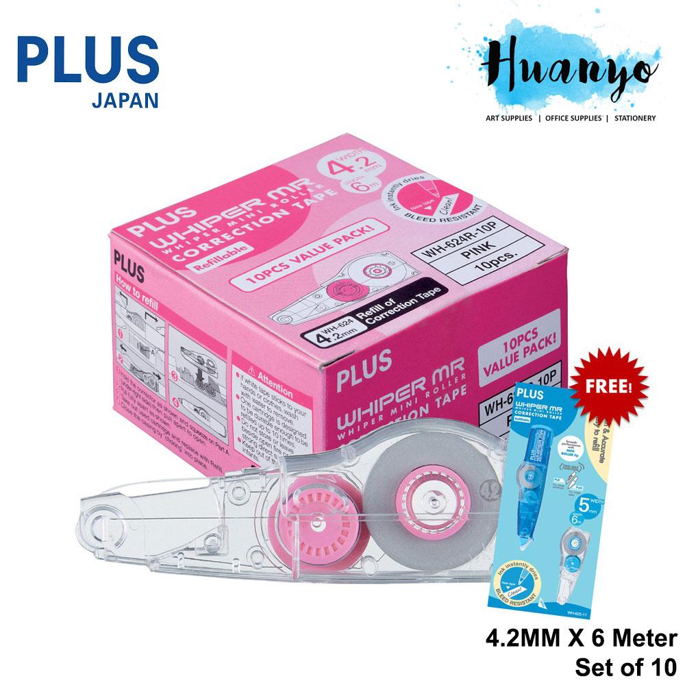 PLUS Whiper MR Correction Tape Cartridge Refill (Set of 10 Refills) [FREE Correction Tape x 1] [4.2MM / 5MM / 6MM]